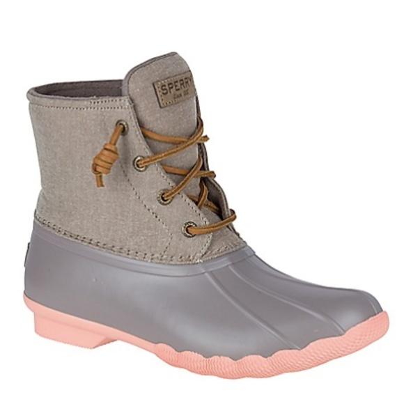 Sperry Saltwater Duck Rain Boots Grey